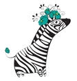 Zebra with flowers vector