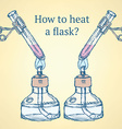 How to heat a flask in vintage style vector