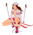 Beautiful pin-up girl with skis vector