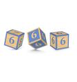 Number 6 wooden alphabet blocks vector
