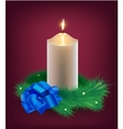 Christmas card burning white candle vector