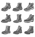 Set of nine different boots isolated on white vector