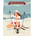 Vintage pin up girl with skis poster vector