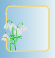 Snowdrops spring flower frame blue background vector