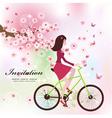 Girl bike card vector