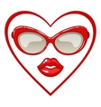 Red sunglasses and lips vector