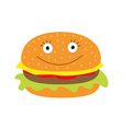 Funny cartoon hamburger icon with happy face vector