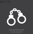 Handcuffs premium icon white on dark background vector