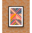Abstract geometric poster frame on brick wall vector