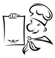 Cheerful chef with menu paper vector