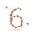 Floral number six for your design vector