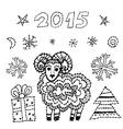 Set new year symbol 2015 sheep spruce snowflakes vector
