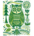 Ornate woodblock style owl vector