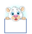 Cute little polar bear holding blank sign vector