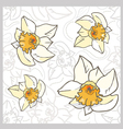 Seamless flowers pastel vintage pattern daffodils vector
