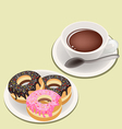 A smoking hot coffee with glazed donuts vector