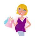 Cute blond hair mom shopping vector