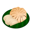 Sweet ripe santol fruit on green banana leaf vector