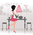Girl birthday cake card vector