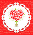 Postcard happy valentines abstract tree of hearts vector