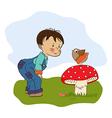 Little boy talk with funny bird vector