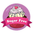 A mouthwatering cupcake with a sugar free label vector