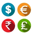 Currency flat icons set vector