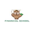 Cartoon owl with stack of money vector