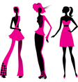 Three fashion girls vector