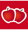 Stickers apple red lines background vector