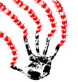 Bloody hand prints on a white background vector