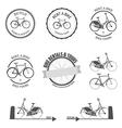 Set of rent a bike design elements vector
