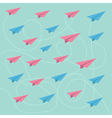 Pink and blue planes with dash lines pattern vector