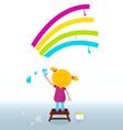 Cute child painting rainbow vector