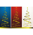Set of three abstract christmas trees with golden vector