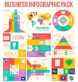 Collection of 9 business flat infographic elements vector