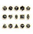 Colorful gems - black set realistic gemstones vector