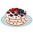 Delicious berry cake vector
