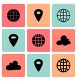 Black flat map pin icons vector
