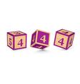 Number 4 wooden alphabet blocks vector