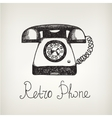 Hand drawn doodle retro phone vector