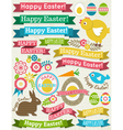 Background with ribbon easter eggs rabbit and flow vector