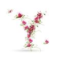 Floral letter y for your design vector