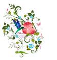 Vintage floral invitation card vector