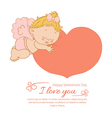 Valentines day with an angel greeting card vector