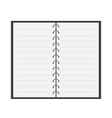Open notebook with spiral and blank lined paper vector