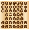 Wooden alphabet blocks with letters and numbers vector
