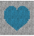 Seamless pattern with hand drawn knitted heart vector