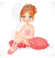 Beautiful little ballerina girl in pink dress sit vector