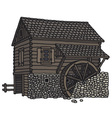 Old wooden watermill vector